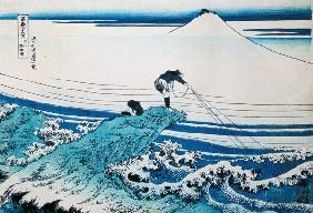 Kunstdruck von Katsushika Hokusai - 'A Fisherman Standing on a Rocky Promontory at Kajikazawa in Kai Province', from the series '36 View