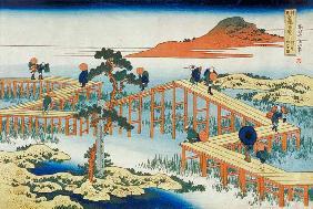 Kunstdruck von Katsushika Hokusai - Eight part bridge, province of Mucawa, Japan, c.1830 (wood block print)