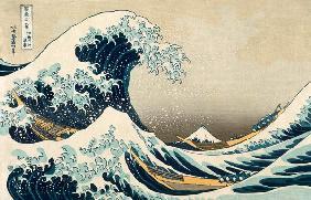 Kunstdruck von Katsushika Hokusai - The Great Wave of Kanagawa, from the series ''36 Views of Mt. Fuji'' (''Fugaku sanjuokkei'') pub. Ni