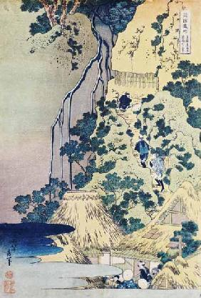 Kunstdruck von Katsushika Hokusai - Travellers Climbing Up A Steep Hill To Pay Homage To A Kannon Shrine In A Cave By The Waterfall