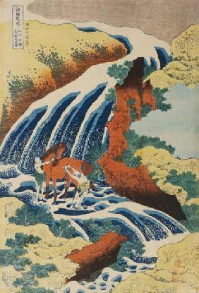 Kunstdruck von Katsushika Hokusai - Two Men Washing A Horse in A Waterfall