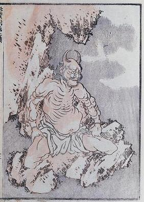A genie, from a Manga (coloured woodblock print) 18th