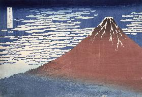 Fine weather with South wind, from 'Fugaku sanjurokkei' (Thirty-Six Views of Mount Fuji) c.1831 (col 14th