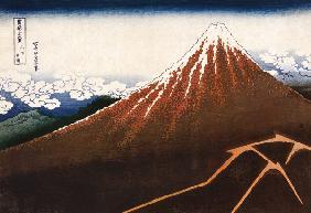 Kunstdruck von Katsushika Hokusai - Rainstorm Beneath The Summit (The Black Fuji), From The Series ''Thirty-Six Views Of Mount Fuji''