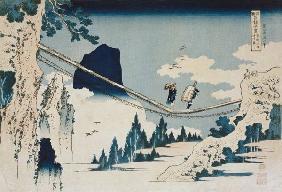 Kunstdruck von Katsushika Hokusai - The Suspension Bridge Between Hida and Etchu (woodblock print)