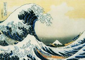 Kunstdruck von Katsushika Hokusai - Die große Woge von Katsushika Hokusai