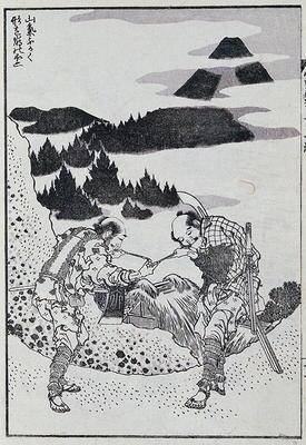 Two men, from a Manga (colour woodblock print) 18th