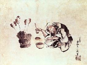 Kunstdruck von Katsushika Hokusai - Craftsman painting toys (pen & ink and w/c on paper)