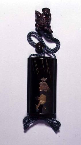 Netsuke and inro case depicting Abura Bozu, the Oil Thief early 19th