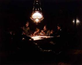 Family supper in the lamp light