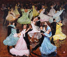 Ballroom Dancing, 1993 (gouache on silk)
