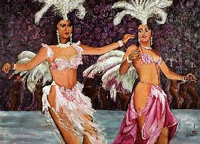 Belly Dancers, 1987 (gouache on silk)