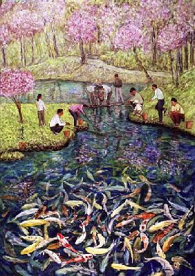 Fishing, 1996 (gouache on silk)
