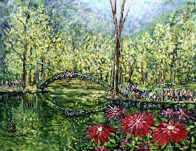 Mirror Bridge, 1993 (gouache on silk)