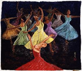 Stage Presentation, 1994 (gouache on silk)