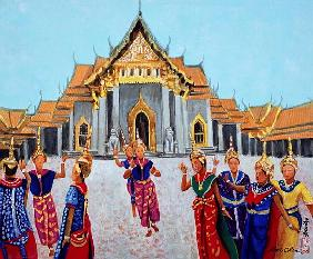 Traditional Thai Dance, 1990 (gouache on silk)