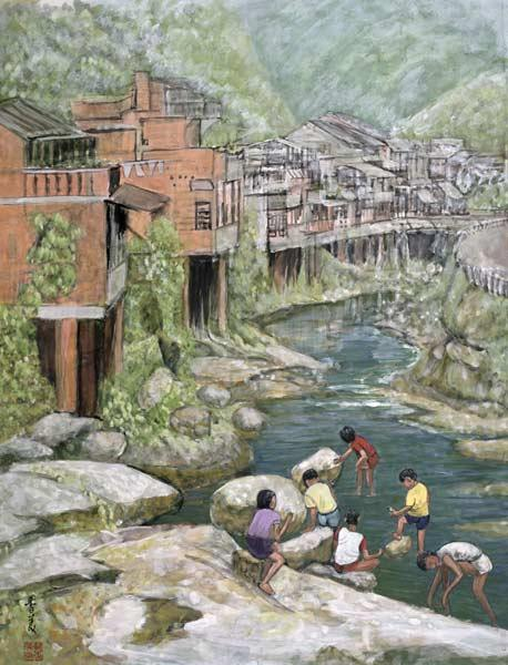 Village by the River, 1992 (gouache on silk)