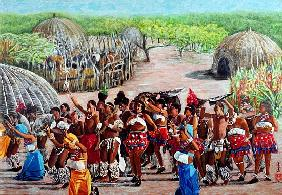 Zulu Celebration, 1989 (gouache on rice paper)
