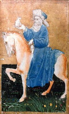 A mounted man holding a small dog, one of a set of playing cards depicting scenes of courtly hawking 15th