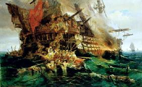 A Turkish Warship on Fire, 1868 (oil on canvas) 19th