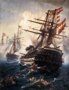 Kunstdruck von Konstantinos Volanakis - Das Linienschiff Kaiser in der Seeschlacht von Lissa.