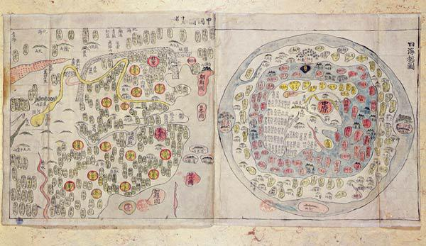 Sino Korean world map, c.1800 (hand-coloured print)