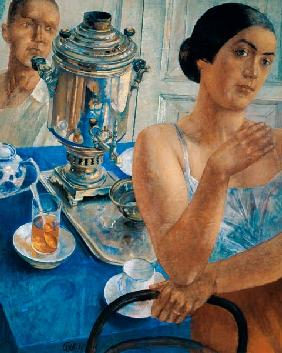 Kuzma Sergeevich Petrov-Vodkin - At The Samovar