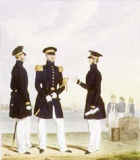 Captain, Flag Officer and Commander (Undress) plate 9 from 'Costume of the Royal Navy and Marines',