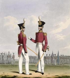 Field Officers of the Royal Marines, plate 2 from 'Costume of the Royal Navy and Marines', engraved