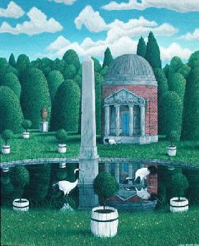 Temple, Chiswick House Gardens, 1989 (acrylic on linen)
