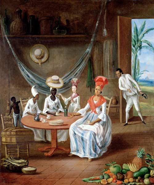 A Mulatto Woman with her White Daughter Visited by Negro Women in their House in Martinique 1775