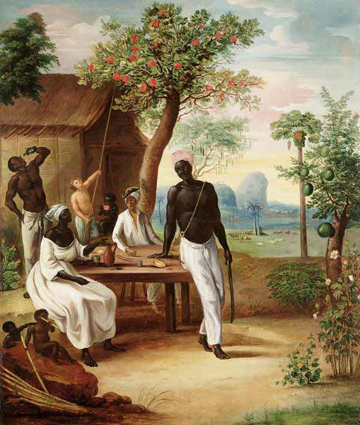 Black Slaves Seated Outside their House in Martinique 1775