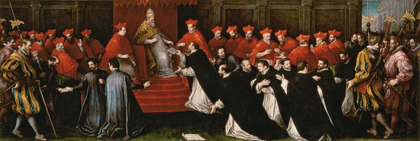 Pope Honorius III approving the order of Saint Dominic in 1216