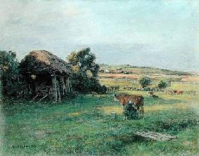 Landscape with a Peasant Woman Milking a Cow mid-1880s