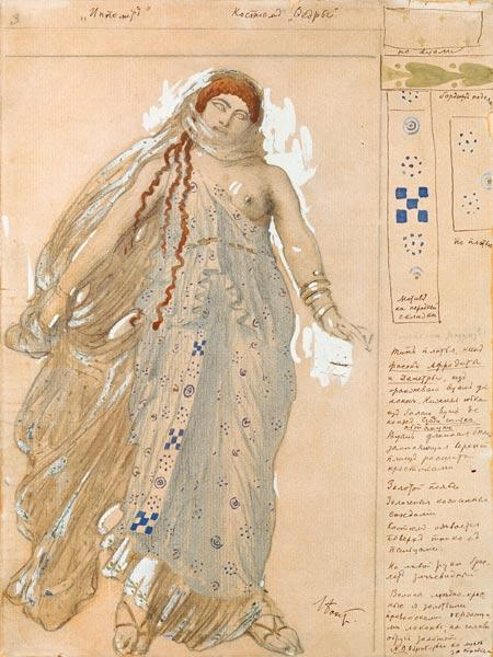 Phaedra, Costume design for the Euripides' drama 'Hippolytos' 1902  & oi
