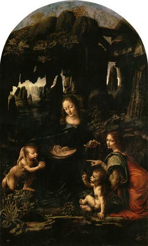 Madonna in der felsengrotte erste fassu leonardo da vinci als kunstdruck oder handgemaltes - Wandfarbe rottone ...