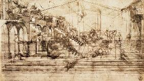 Background perspective sketch for The Adoration of the Magi