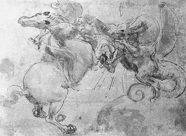 Battle between a Rider and a Dragon, c.1482 (stylus underdrawing, pen and brush on paper) C15th