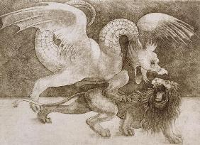 Fight between a Dragon and a Lion (pen and ink on paper) (print) 1908