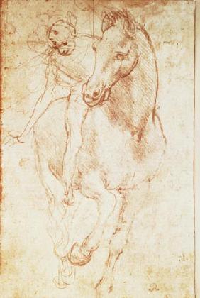horse and rider silverpoint - Leonardo Da Vinci Lebenslauf