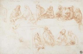 Preparatory drawing for the Last Supper (sepia ink on linen paper) 1857