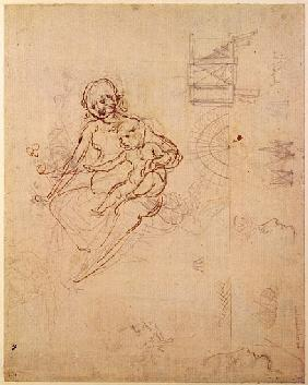 Studies for a Virgin and Child and of Heads in Profile and Machines, c.1478-80 (pencil and ink on pa