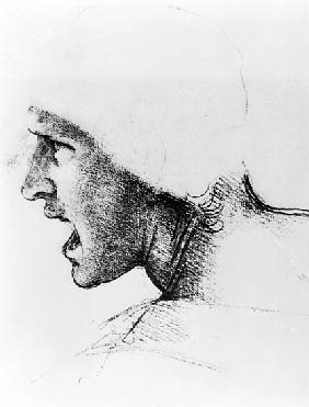 Study for the head of a soldier in ''The Battle of Anghiari'', c.1504-05
