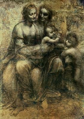 The Virgin and Child with SS. Anne and John the Baptist, c.1499 (charcoal, chalk on paper)