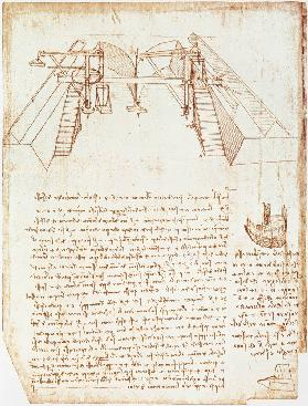 Facsimile of Codex Atlanticus 363vb Pulley System for the Construction of a Staircase 1503/4-07