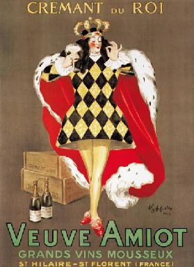 Poster advertising 'Veuve Amiot' sparkling wine 1922
