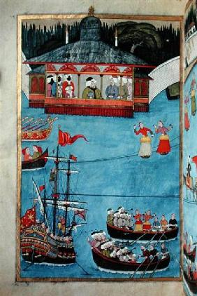 TSM A.3593 Nautical Festival before Sultan Ahmed III (1673-1736) from 'Surname' by Vehbi c.1720