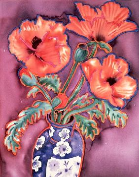 Poppies in Chinese Vase (watercolour)