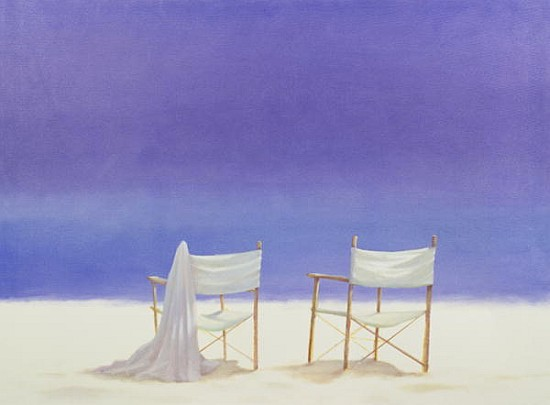 chairs on the beach 1995 acrylic on ca lincoln seligman als kunstdruck oder handgemaltes. Black Bedroom Furniture Sets. Home Design Ideas