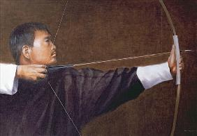 Archer, Bhutan (oil on canvas)